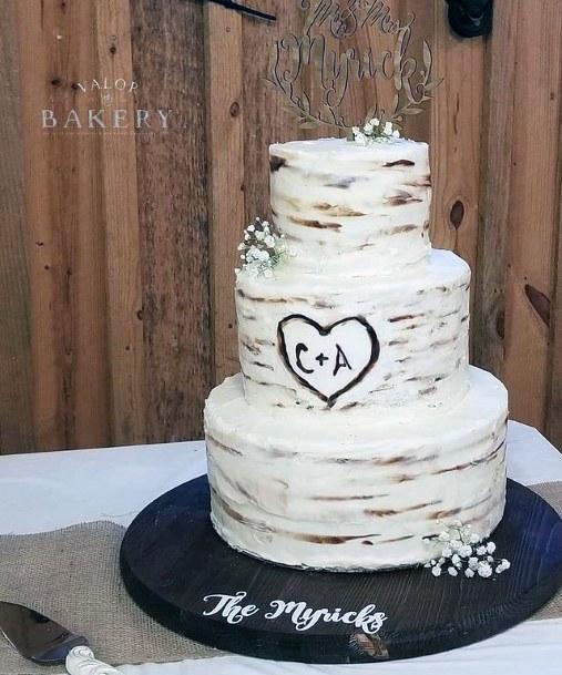 Three Tiered White Cream Red Velvet Wedding Cake