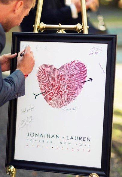 Thumb Print Heart Wedding Guest Book Ideas