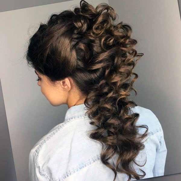Tight Spiraled Brown Hairstyle Women