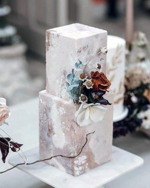 Tiled Art Square Wedding Cake