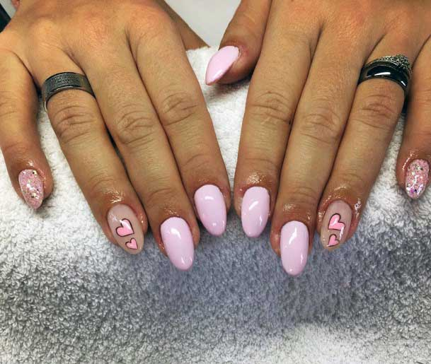 Tinted Pink Colored Nail Design