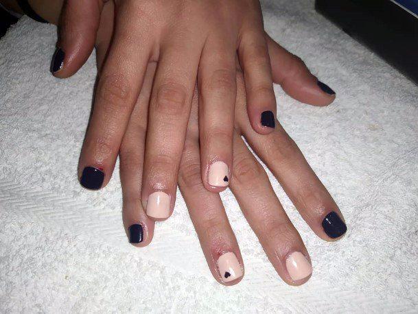 Tiny Cute Heart On Black Nails Women