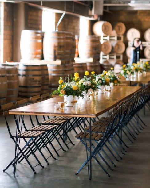 Tiny Vases With Yellow Flowers Wedding Dining Decor