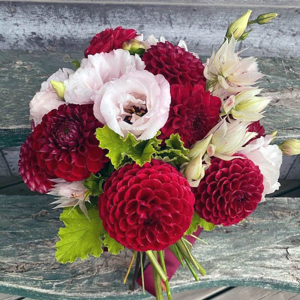 Tissue Red And White Wedding Flowers