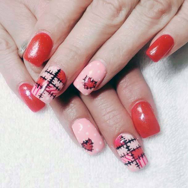 Tomato Red And Pink Nails For Women