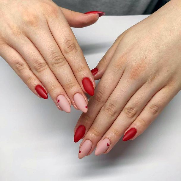 Tomato Red And Pink Romantic Nails Women
