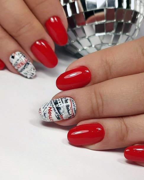 Tomato Red Shellac Nails With Newsprint Accent For Women