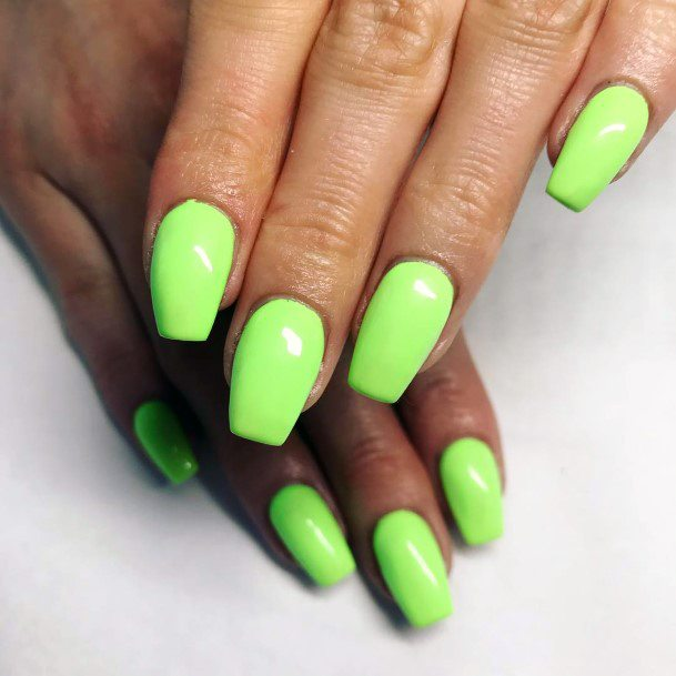 Toned Neon Green Painted Nails