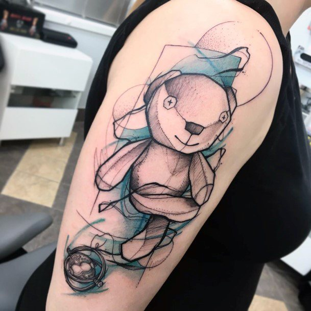 Toy Bear Tattoo For Women On Arms