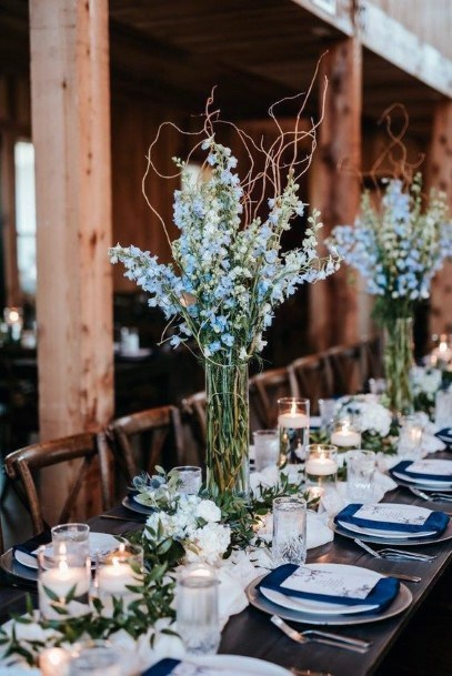 Traditional Tall Vases With Beautiful Florals Wedding Centerpiece Ideas
