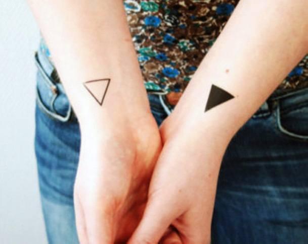 Traingular Tattoo Opaque And Transparent Womens Wrist