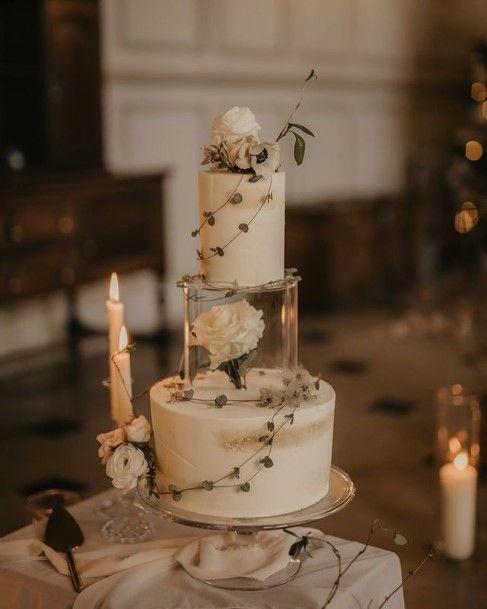 Transparent Glass Buttercream Wedding Cake