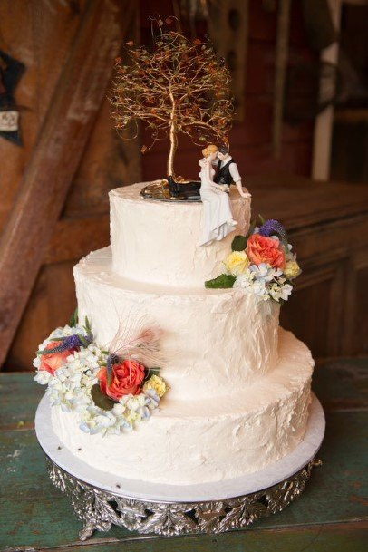 Tree Artifact Rustic Cream Wedding Cake Toppers