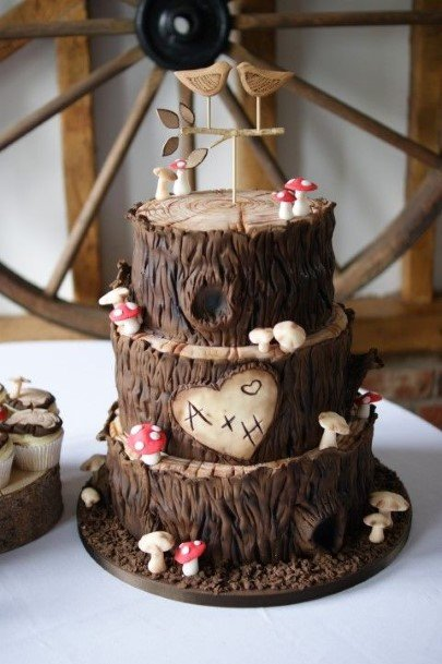 Tree Bark Brown Rustic Wedding Cake Toppers