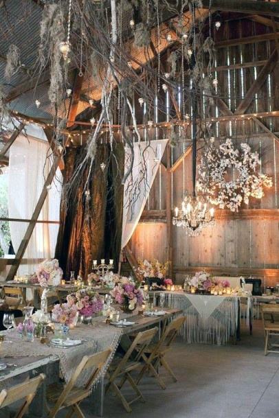 Tree Branch Reception Decorations In Wooden Barn Rustic Wedding Ideas