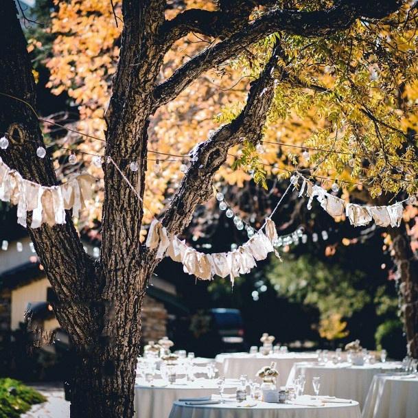 Tree Decor Garlands Backyard Wedding Ideas