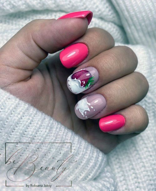 Trendy Cute Pink Strawberry Milk Shake Delicious Nail Design For Girls
