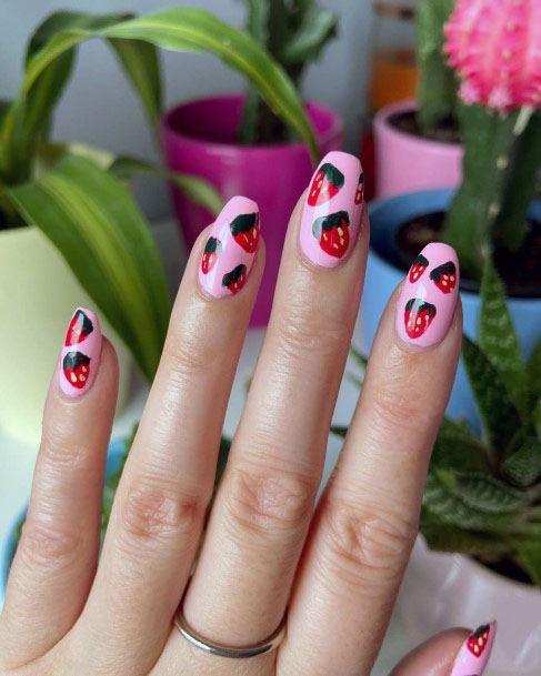 Trendy Lovely Strawberry Nail Art For Women