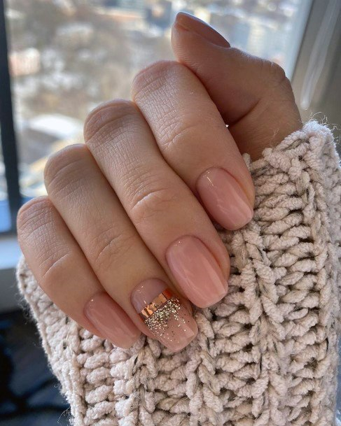 Trendy Nude Nails With Golden Band And Sparkles