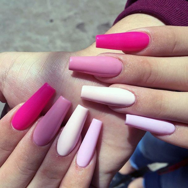 Trendy Pink Girly Colored Nails