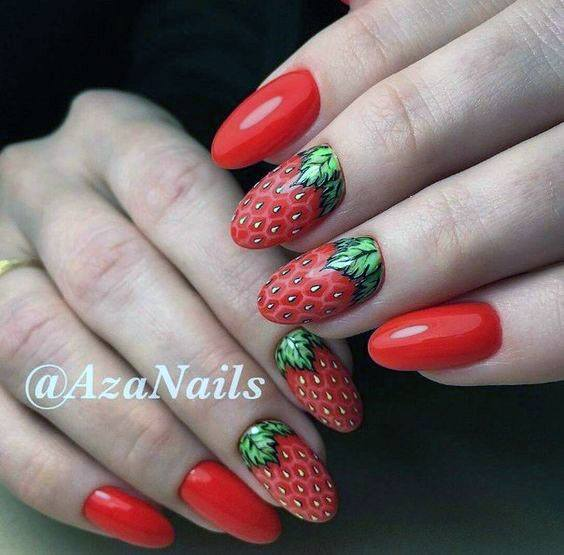 Trendy Simple Red Strawberry Nail Design Ideas For Ladies