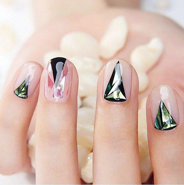 Triangular Design Glass Nail Art Women