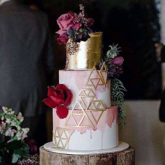 Triangular Design On Pink 3 Tier Wedding Cake
