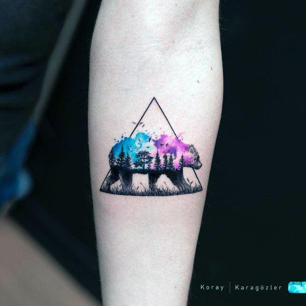 Triangular Frame Pink And Blue Bear Tattoo