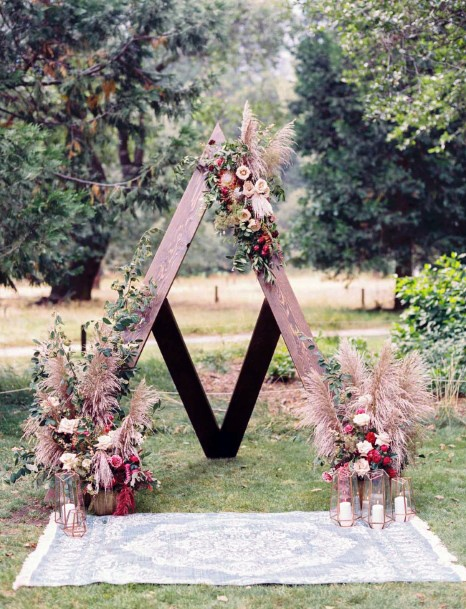 Triangular November Wedding Flowers Arch