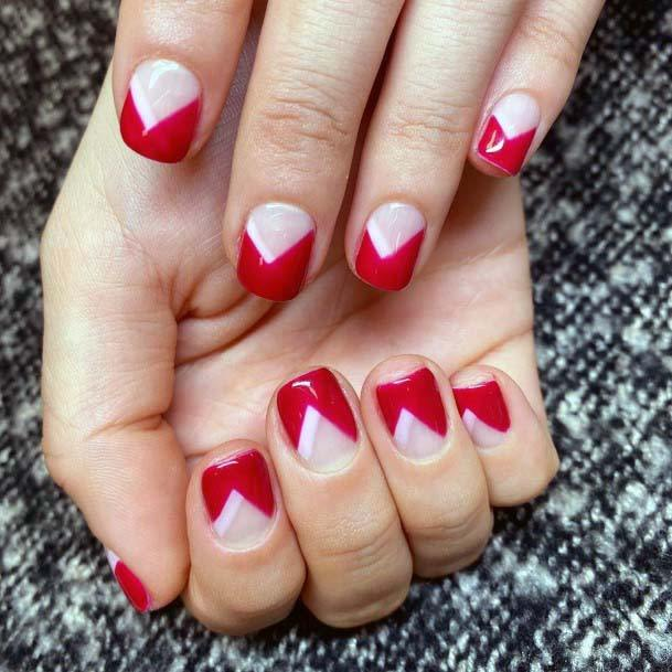Triangular Red Designs On Pink Nails For Women