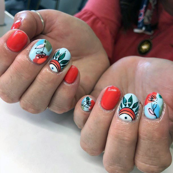 Tribal Design Bright Red Nails For Women