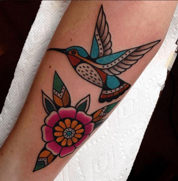Tribal Flower Art And Hummingbird Tattoo For Women