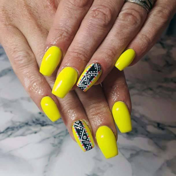 Tribal Ribbon Art On Bright Yellow Nails Designs For Women