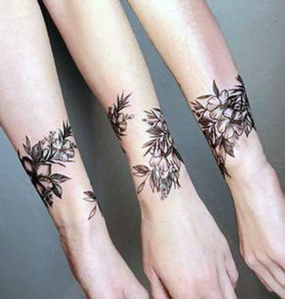 Trio Floral Tattoo Womens Wrists