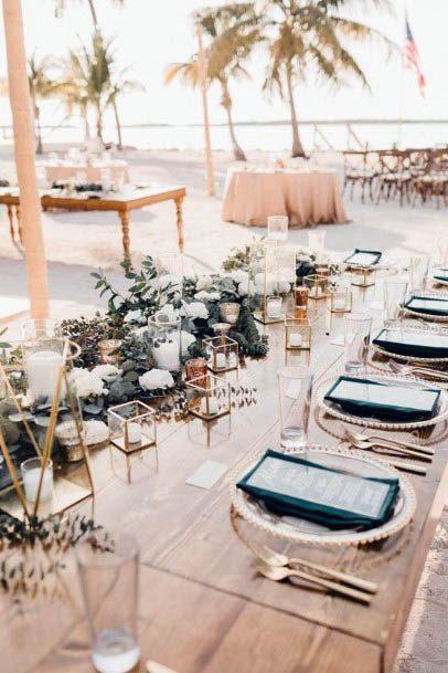 Tropical Beach Wedding Table Decor Flowers