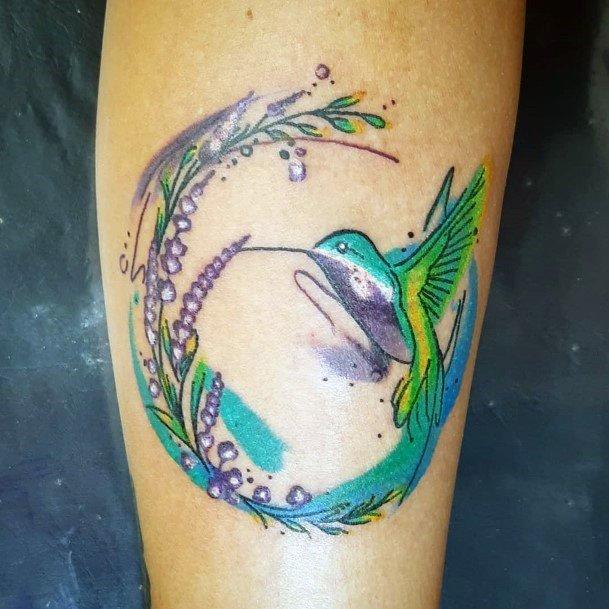 Tropical Green Hummingbird Tattoo Women