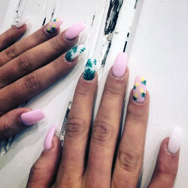 Tropical Nails With Pineapple Women