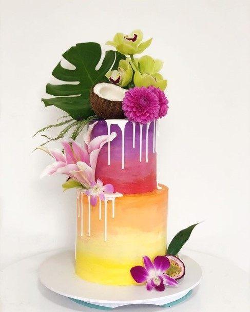 Tropical Rainbow 2 Tier Wedding Cake