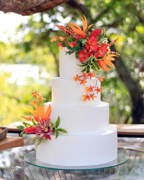 Tropical Wedding Flowers On Cake