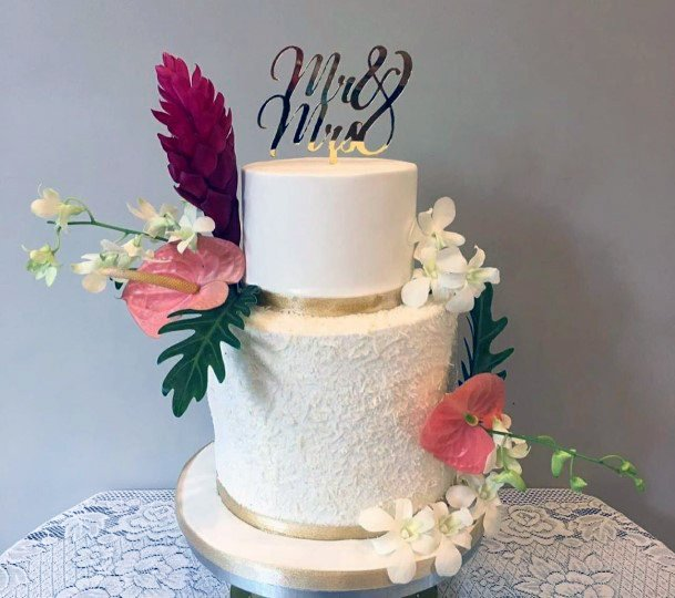 Tropical Wedding Flowers On White Cake