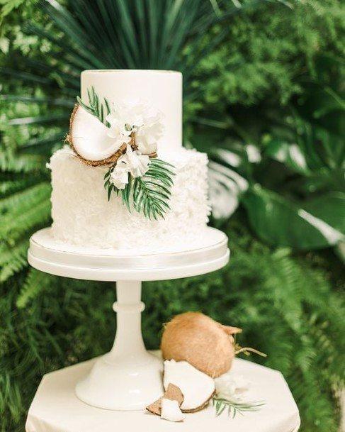Tropics Coconut 2 Tier White Wedding Cake
