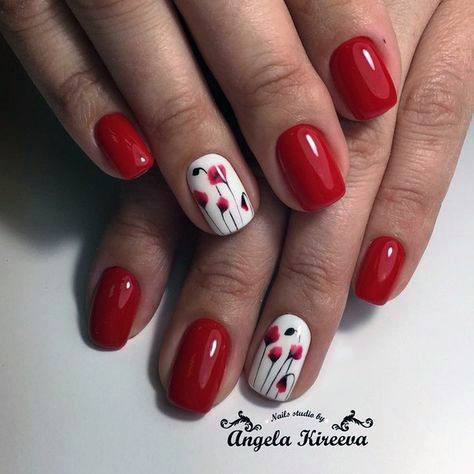 Tulips Design On Bright Red Nails For Women