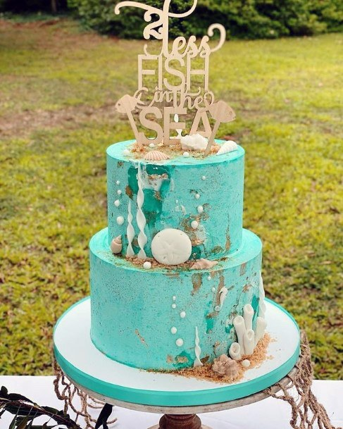 Turquoise Beach Wedding Cake For Women