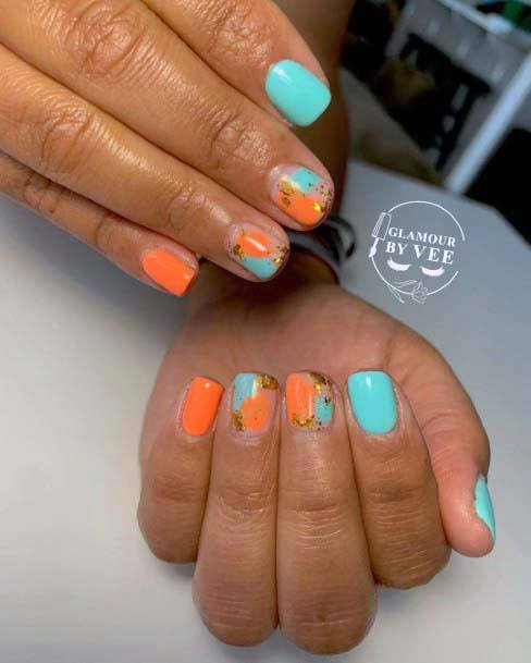 Turquoise Blue And Orange Nails For Women