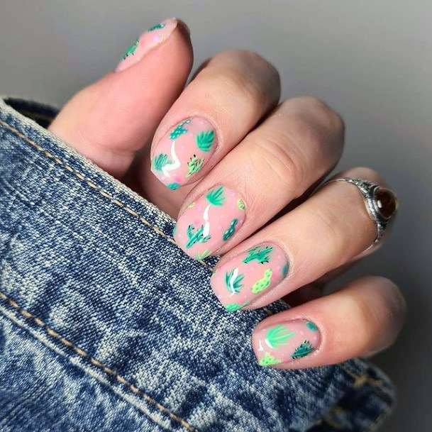 Turquoise Cactus Nails Nude Women