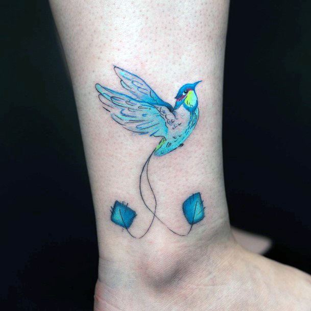 Turquoise Hummingbird Tattoo Womens Ankles