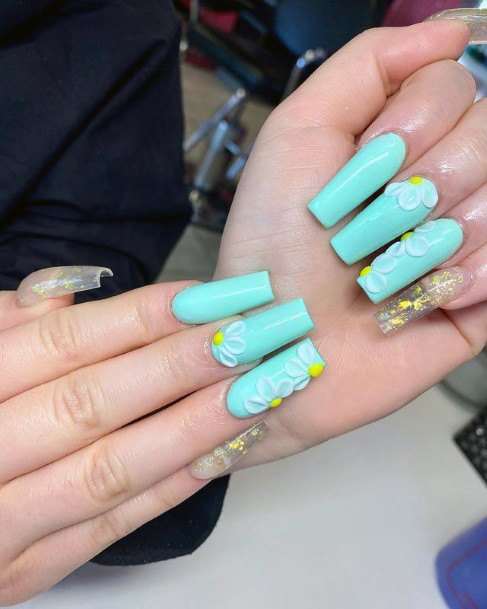 Turquoise Nails 3d Yellow Flowers Women