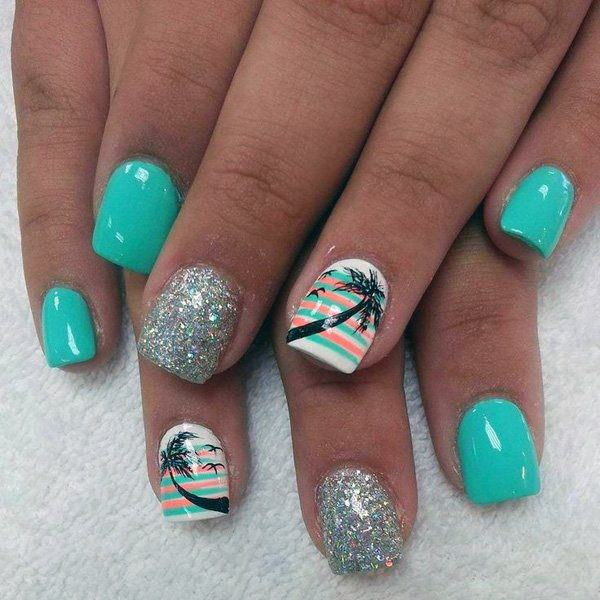 Turquoise Silver Tropical Nails Women