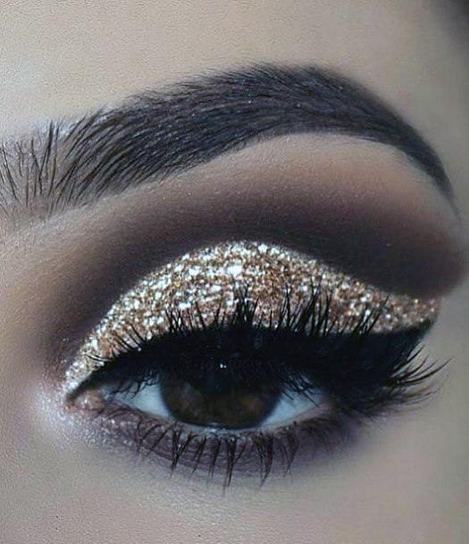Twinkling Brown And Gold Eyeshadow Women