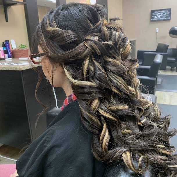 Twisted Curls Dark And Light Hairstyle For Women